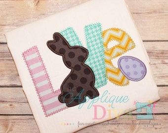 Easter LOVE Rabbit and Eggs Digital Embroidery Design Machine Applique