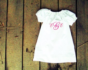 Monogrammed white peasant dress coming home outfit  size newborn 0-3 3-6 6-12 months 2t 3t 4t 5 6  coming home outfit baptismal gown