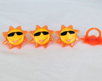 12  Sun Cupcake Rings Toppers Party Favors Summer Sunshine