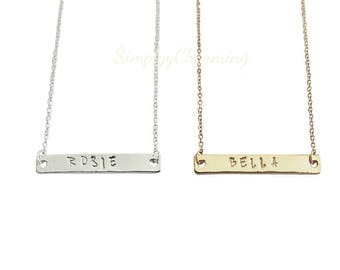 Name Initial Personalized Date Custom Necklace Hand Stamped - 18 Inches - Sterling Silver, 14K Gold Filled