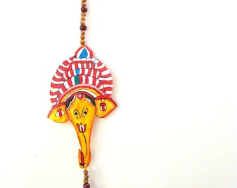 50% OFF-Door Hanging Ganesha Leather Painting Tholubommalata Home Decor Indian Handicraft - Andhra Pradesh Style from South India
