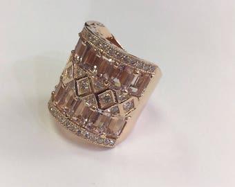 14k Rose Gold Diamond /Morganite Wedding Band
