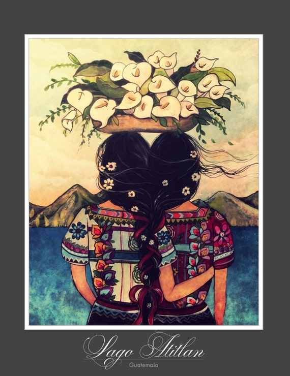 Art print sisters best friends  Guatemala 16 x20 inches