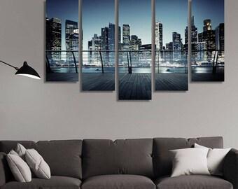 LARGE XL Cityscape Architecture Canvas Building Business Metropolis Concept Canvas Print Wall Art Print Home Decoration - Stretched