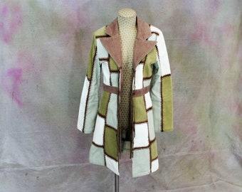 Boho Blanc Noir kharma patchwork corduroy crochet fringe jacket size small vintage 1960-1970's