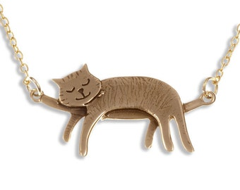Sleeping cat necklace – Bronze- Hand Made in UK- Ideal Gift For Birthday-Anniversary - Cat Lover