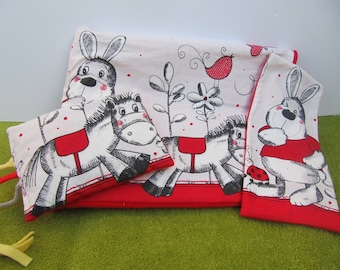 Rabbit and donkey theme dog blanket.