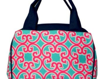 Personalized Girls Insulated Lunch bag, Geometric Lunch Bag, Pink and Teal Lunch Bag