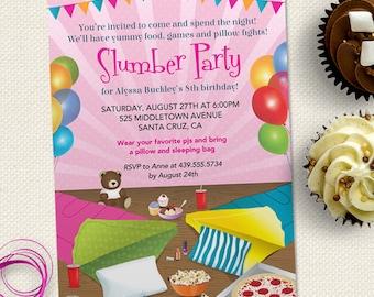 Sleepover Sleep Under Slumber Birthday Party Invitation, Printable, Evite or Printed (US only) Invitations