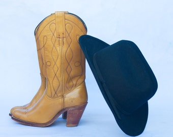 Vintage Frye Western Cowboy Boots Style 7972 USA Made/ Butterscotch Tan Leather/ Size 6 B.