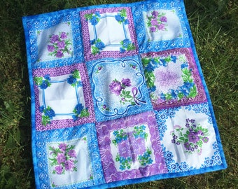 Vintage inspired mini quilt, doll quilt, newborn photography prop, baby photography prop, photo prop 22 x 23 inch