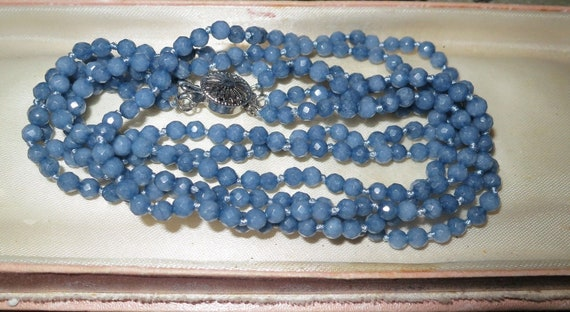 Lovely 3 strand faceted 5mm raw Brazilian Aquamarine necklace 18""