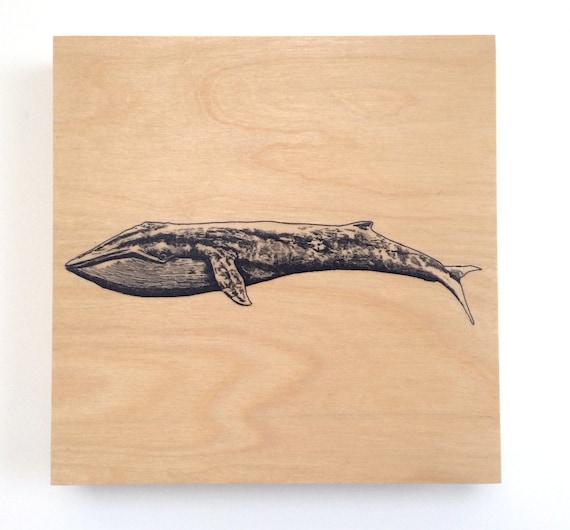 Blue Whale Art Nautical Decor Animal Nursery Art Wood Wall Art