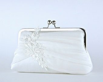 Bridal clutch, Lace Applique Chiffon Silk Clutch, wedding clutch, wedding bag, Purse for wedding