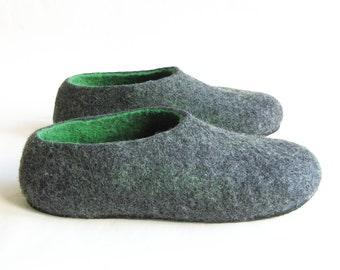 Felt Felted Clogs, Men Felt Shoes House Women Shoes, Mens Felted Slippers, Unisex Slippers, Non Slip Boiled Wool Slippers, Fathers Day Gift