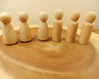 Wooden Peg Dolls, DIY Cake Topper, Bride, Groom, Blank Wood Dolls, Crafting Supplies, Wood Figures