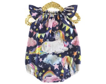 12-24 months, Unicorn Romper, Baby Romper, Navy Romper, Spring Romper, Birthday Romper, Toddler Romper, Unicorn Outfit, Bubble Romper