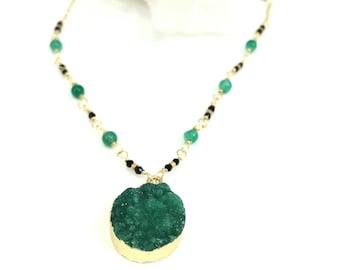 Druzy Necklace, Druzy Jewelry, Gemstone Necklace, Druzy Stone, Sea Green Necklace, Gold Necklace, Green Onyx Necklace