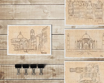 Postcards: set, 4 cities