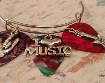 I Love Music Adjustable Bangle Bracelet - Silver