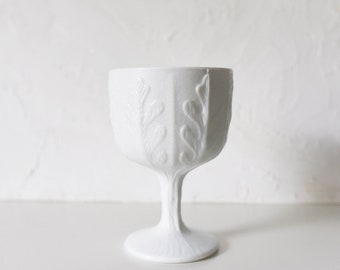 Oak Leaf Milk Glass Footed Compote, Vintage Milk Glass Footed Bowl - wedding centerpiece vase - vintage milk glass planter