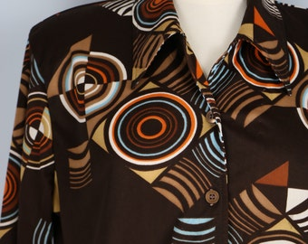 1970s Shirt - Graphic Geometric Print Top - Funky Retro Hipster - Long Sleeve - Button Up - Groovy Vintage Shirt - Size Medium Large