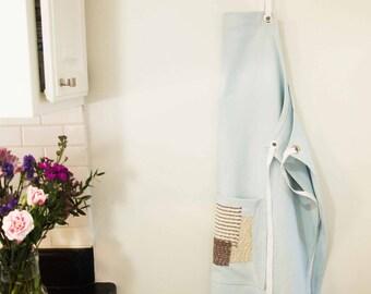 Denim apron full with sashiko pocket
