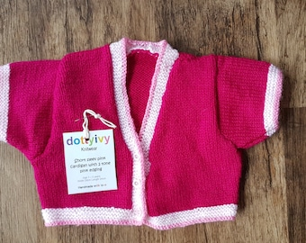 Fuchsia pink short sleeve cardigan, with two tone pink edging