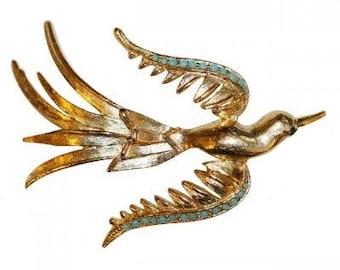 VINTAGE - Turquoise bird brooch