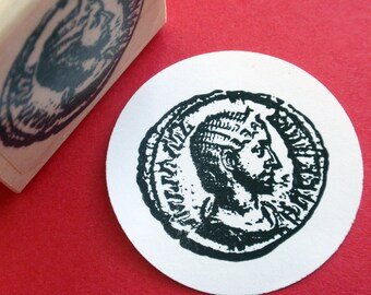Ancient Roman Coin Rubber Stamp - Handmade by BlossomStamps