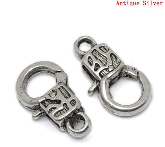 FF201 10 Large Lobster Clasps Silver Plated 16mm x 9mm