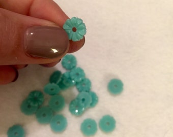 Small Turquoise Flower Cabochons