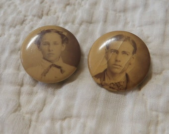 2 Antique Celluloid Photo Pin Back Buttons