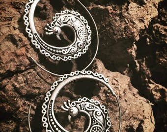Ethnic tribal hoop earrings Peacock pendientesValentine's Day