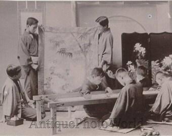 Japan boys workers silk weavers antique photo