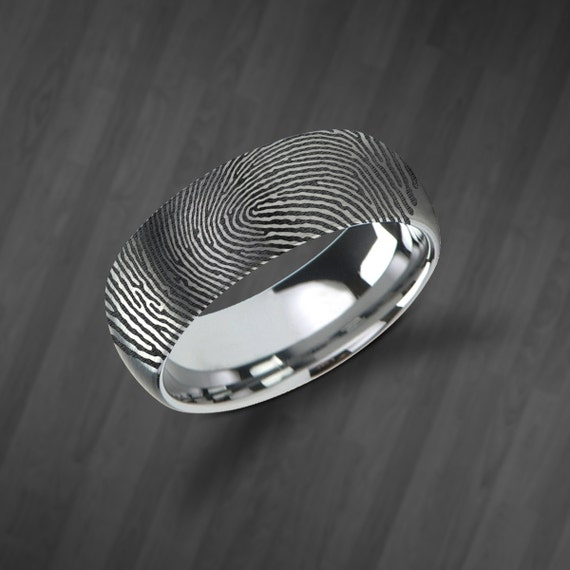 Actual Fingerprint Ring Tungsten Carbide Engraved Wedding Band Brushed and Domed - 4mm to 12mm Available - Lifetime Size Exchanges