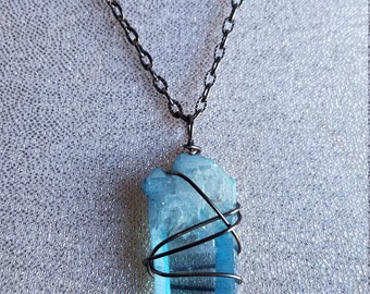 Elestial Aqua Aura quartz Wire wrapped Pendant