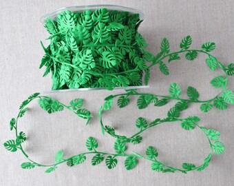 Cheese plant leaf trim, tropical trim, monstera cut out, 1m (1.1yd)