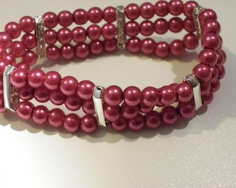 Bracelet 6 mm 3 row Red Indian glass beads