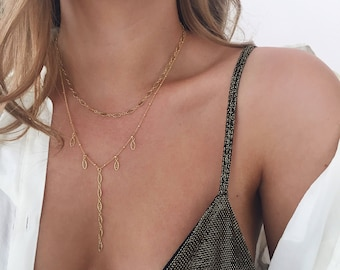 Gold Fill Necklace, Y Necklace, Beaded Chain, Delicate Necklace, Gold Lariat Necklace, Boho Necklace