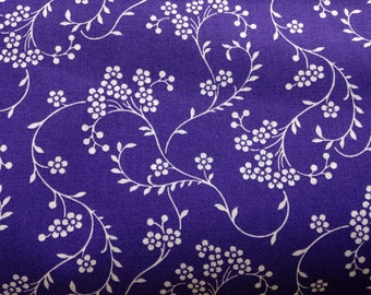 Purple fabric by the yard - purple floral fabric - purple flower fabric - purple and white fabric - #15321