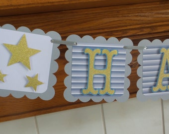 Twinkle Twinkle Little Star Boy Birthday Banner, Gray Blue Gold Star Boy Banner, Gold Glitter Boy 1st Birthday Banner