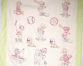 Hand embroidered quilt Vintage Style