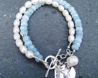 Aquamarine and Pearl Bracelet, Aquamarine Bracelet, Pearl Bracelet, Layered Bracelet, Beach Jewelry, Starfish Charm Bracelet, SweetTaBou