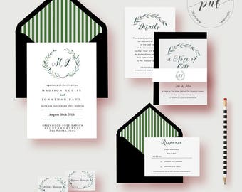 Wedding Invitation Set, Printable Wedding Invites, Natural White and Green Wedding Invitations, Greenery Watercolor Wedding Template PDF
