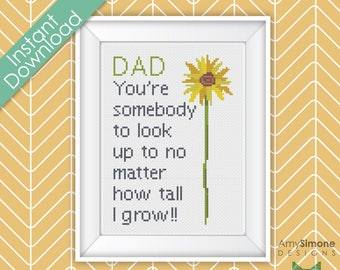 Fathers Dad Day Sunflower Grow Cross Stitch Pattern