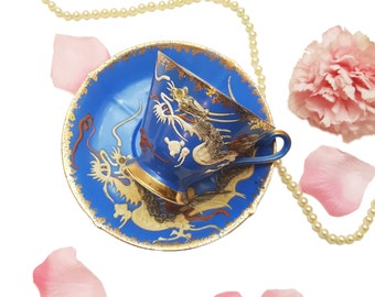 Ornate Cobalt Blue Teacup with Moriage Dragon, Made in Japan, Father's Day Gift