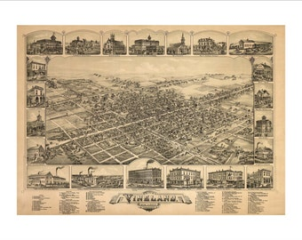 """Vineland New Jersey in 1885 Panoramic Bird's Eye View Map by O. H. Bailey & Co. 22x17"""" Reproduction"""
