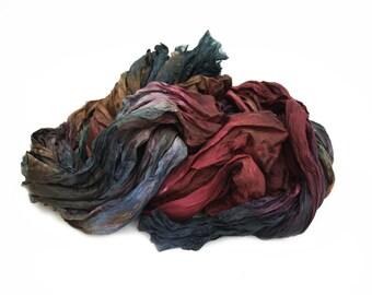 Friendship -  brown, green, emerald, blue, burgundy silk scarf.