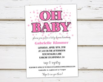 Printable Girl Baby Shower Invitation, Oh Baby, It's a Girl, Pink Confetti, Pink White, Simple, Casual, Cute, Summer, Spring, Girly, MB002